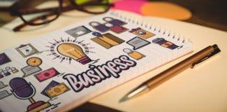 Image composée de l'image produite numérique du texte d'affaires avec de diverses icônes Image stock