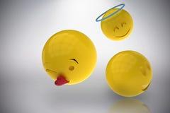 Image composée de l'image tridimensionnelle des différentes réactions 3d de smiley Photo stock
