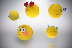 Image composée de l'image tridimensionnelle des réactions diverses 3d d'émoticônes Photos libres de droits