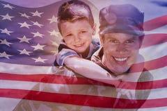Image composée de l'ondulation digitalement produite de drapeau américain Photos stock