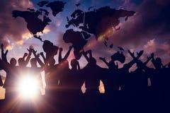 Image composée de la célébration de silhouetters photographie stock