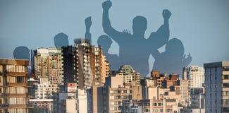 Image composée de la célébration de silhouetters image libre de droits