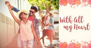 Image composée de la danse de couples dans des mots de rue et de valentines Photos libres de droits