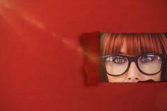 Image composée de la femme étonnée de hippie posant le visage à l'appareil-photo 3d Images libres de droits
