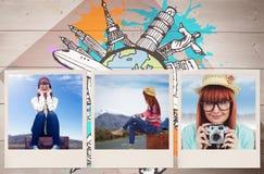 Image composée de la femme de sourire de hippie s'asseyant sur la valise Photos stock