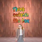 Image composée de la femme geeky de hippie semblant nerveuse photos libres de droits