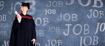 Image composée de la fille blonde heureuse célébrant le succès avec le diplôme Images libres de droits