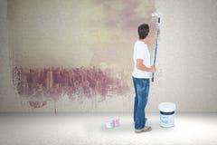 Image composée de la peinture de l'homme sur le fond blanc Photographie stock libre de droits