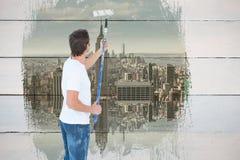 Image composée de la peinture de l'homme sur le fond blanc Images libres de droits