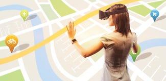 Image composée de la vue arrière de la femme d'affaires tenant les verres virtuels sur un fond blanc illustration de vecteur