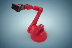 Image composée de la vue courbe du robot rouge tenant le téléphone intelligent 3d Images stock