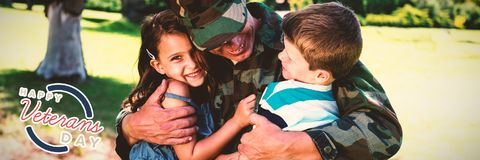 Image composée de logo pour le jour de vétérans en Amérique Photos stock