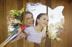 Image composée de mère et de fille en parc Photographie stock