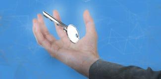 Image composée de main de femme d'affaires faisant des gestes sur le fond blanc 3D Image libre de droits