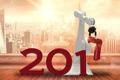 Image composée de main robotique prenant le nombre rouge 3d Photographie stock libre de droits