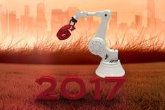 Image composée de main robotique tenant le nombre rouge 3d Image libre de droits