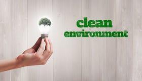 Image composée de main tenant l'ampoule environnementale Image libre de droits