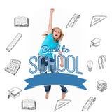 Image composée de nouveau à message d'école avec des icônes Photographie stock
