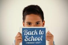 Image composée de nouveau à texte d'école au-dessus du fond blanc Photographie stock libre de droits