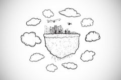 Image composée de nuage calculant avec le griffonnage de paysage urbain Photographie stock