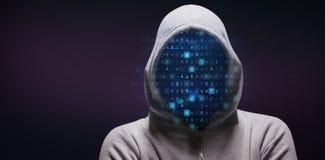 Image composée de pirate informatique se tenant avec des bras croisés Photographie stock