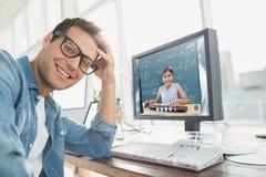 Image composée de portrait d'un homme d'affaires occasionnel posant et souriant Photos libres de droits