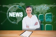 Image composée de portrait d'une femme d'affaires élégante dans le bureau 3d Photographie stock libre de droits