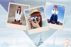 Image composée de portrait d'une femme de sourire de hippie tenant le rétro appareil-photo Photographie stock