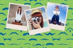 Image composée de portrait d'une femme de sourire de hippie tenant le rétro appareil-photo Image stock