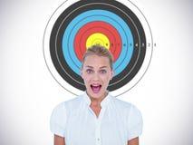 Image composée de portrait de femme d'affaires dans le choc Photographie stock libre de droits