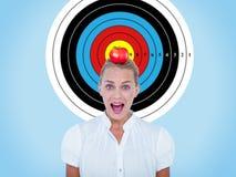 Image composée de portrait de femme d'affaires dans le choc Photo libre de droits