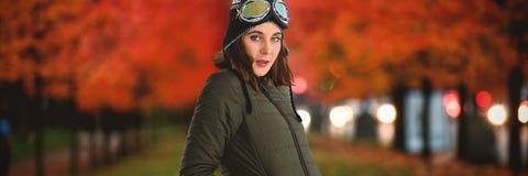 Image composée de portrait de femme dans le manteau d'hiver images stock