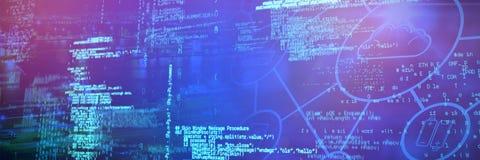Image composée de réseau des icônes de calcul de nuage photographie stock libre de droits