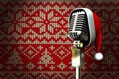 Image composée de rétro microphone avec le chapeau de Santa illustration stock