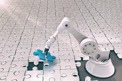 Image composée de robot installant le puzzle denteux 3d Images libres de droits