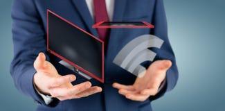 Image composée de section médiane d'homme d'affaires avec les bras 3d Photo libre de droits