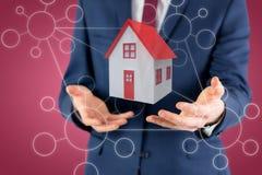 Image composée de section médiane d'homme d'affaires avec les bras 3d Image stock