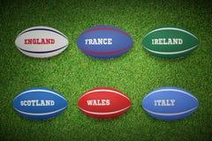 Image composée de six boules de rugby de nations Image stock