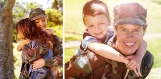 Image composée de soldat heureux donnant sur le dos à son fils image stock
