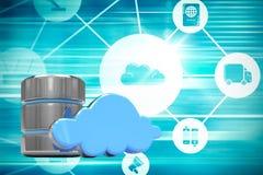 Image composée de symbole d'unité de disque dur avec le nuage bleu Photos libres de droits