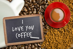 Image composée de tasse de café rouge Image libre de droits