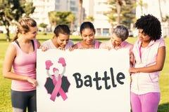 Image composée de texte de bataille avec le ruban femelle de conscience de similarité et de cancer du sein images libres de droits