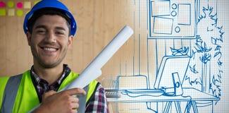 Image composée de travailleur de la construction heureux Photo stock