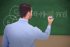 Image composée de vue arrière d'une écriture d'homme d'affaires avec le marqueur Images libres de droits