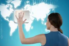 Image composée de vue arrière de femme dans faire des gestes occasionnel futé Image stock
