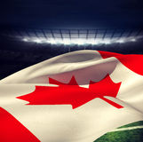 Image composée de vue d'angle faible de drapeau canadien Images libres de droits