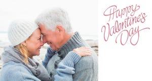 Image composée de vue de côté d'un couple supérieur romantique Photo libre de droits