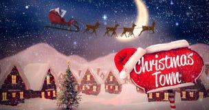 Image composée de vue de côté de l'équitation du père noël sur le traîneau pendant le Noël images stock