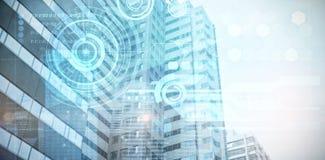 Image composée de vue de l'immeuble de bureaux moderne Image stock