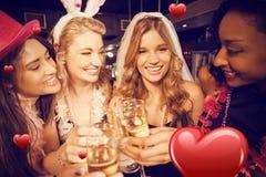 Image composée des amis célébrant la partie de célibataire Photographie stock